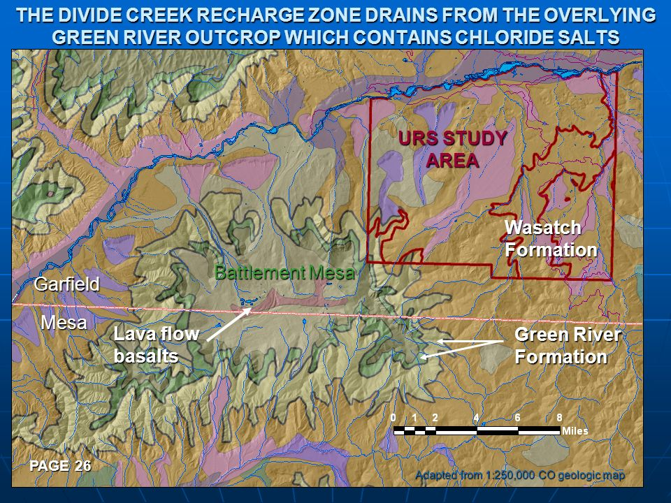 THE DIVIDE CREEK RECHARGE ZONE DRAINS FROM THE OVERLYING GREEN RIVER OUTCROP WHICH CONTAINS CHLORIDE SALTS