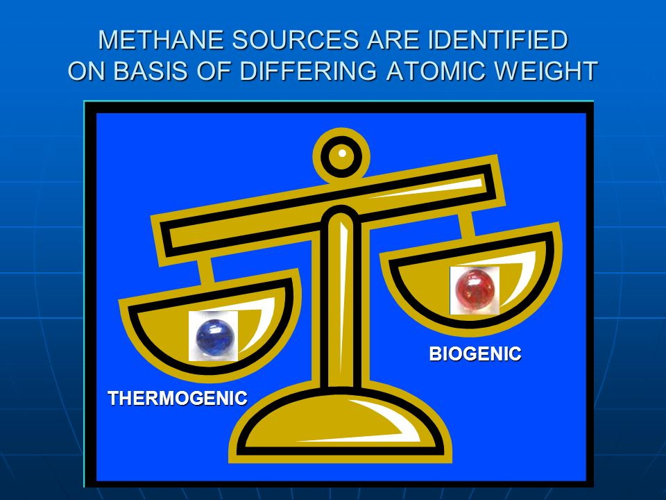 METHANE SOURCES ARE IDENTIFIED ON BASIS OF DIFFERING ATOMIC WEIGHT