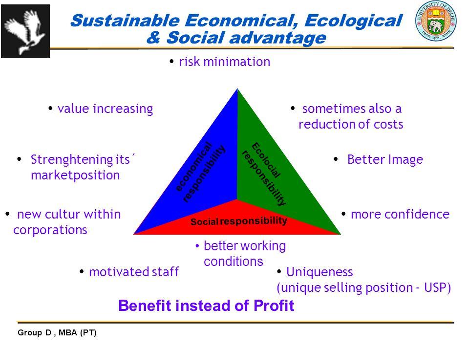 Sustainable Economical, Ecological & Social advantage