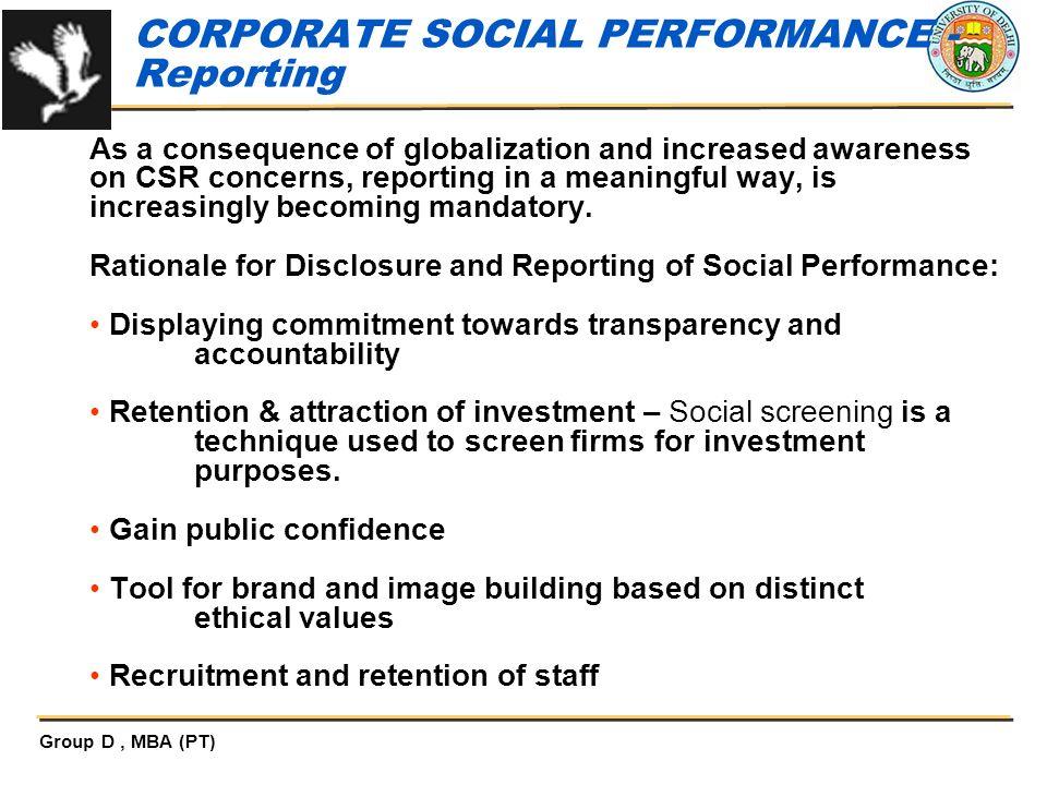 CORPORATE SOCIAL PERFORMANCE - Reporting
