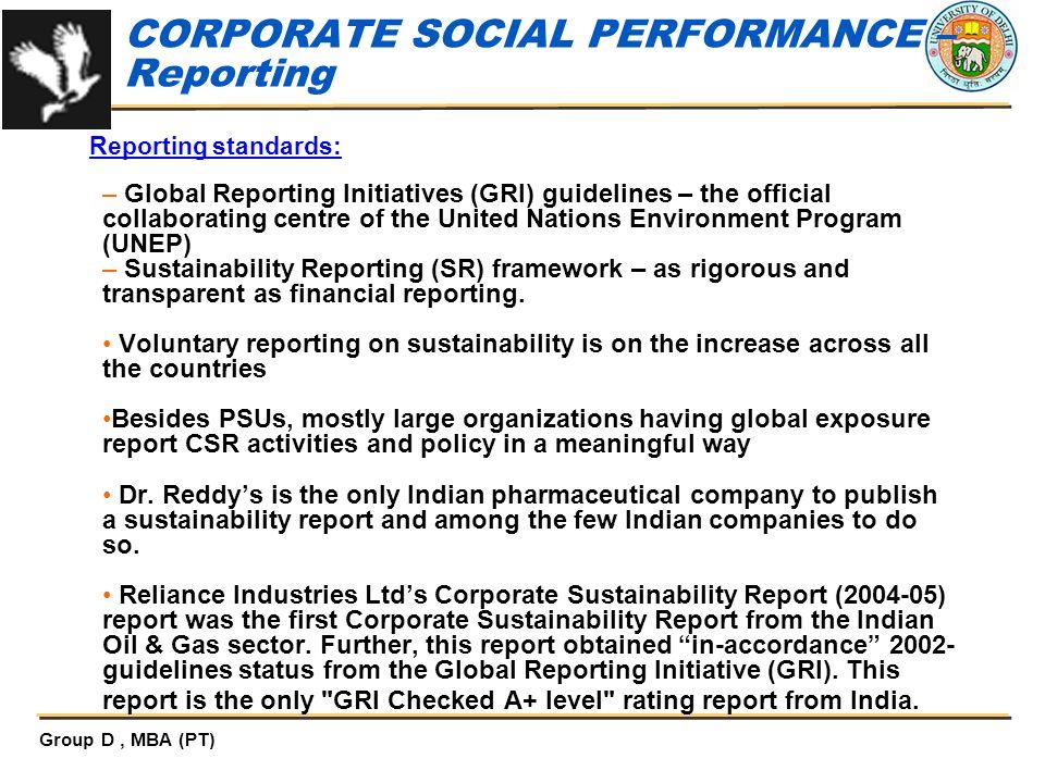 CORPORATE SOCIAL PERFORMANCE – Reporting