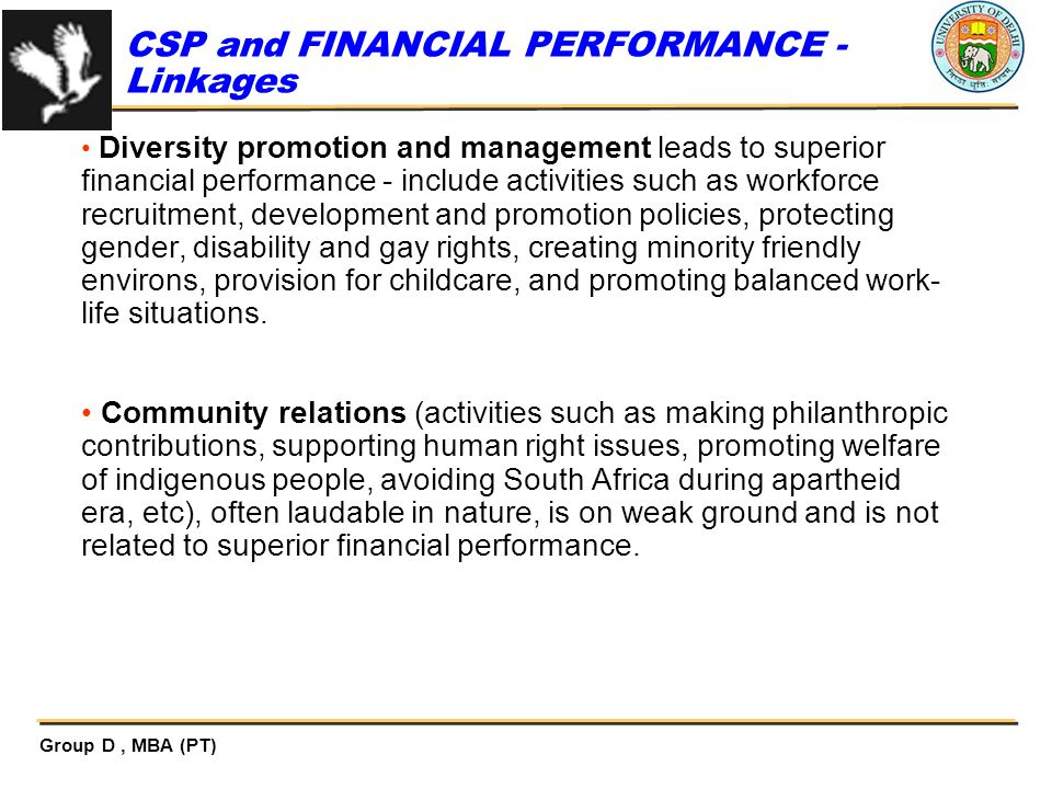 CSP and FINANCIAL PERFORMANCE - Linkages