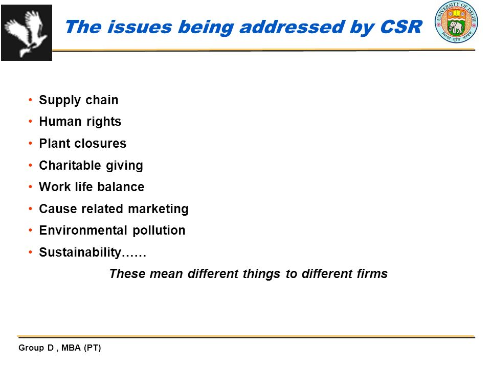 The issues being addressed by CSR