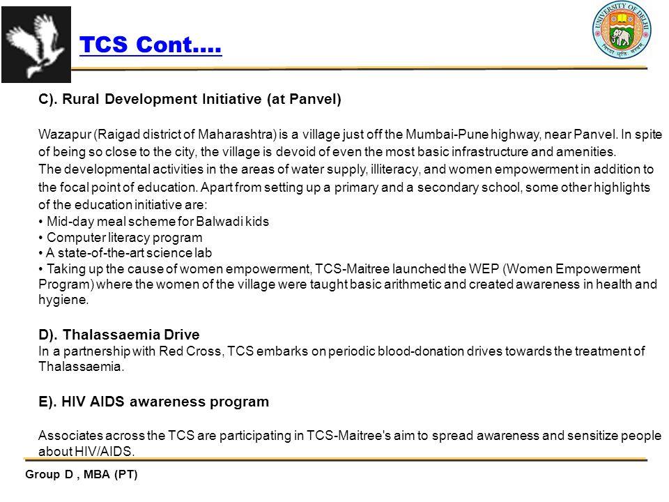 TCS Cont…. C). Rural Development Initiative (at Panvel)