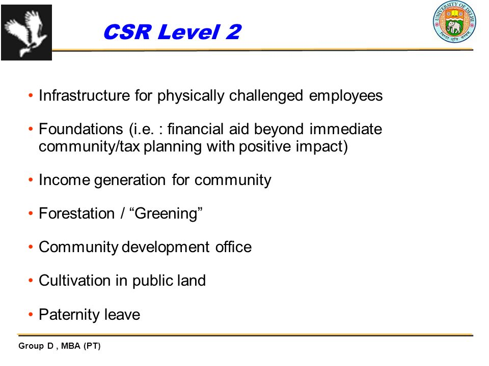 CSR Level 2 Infrastructure for physically challenged employees