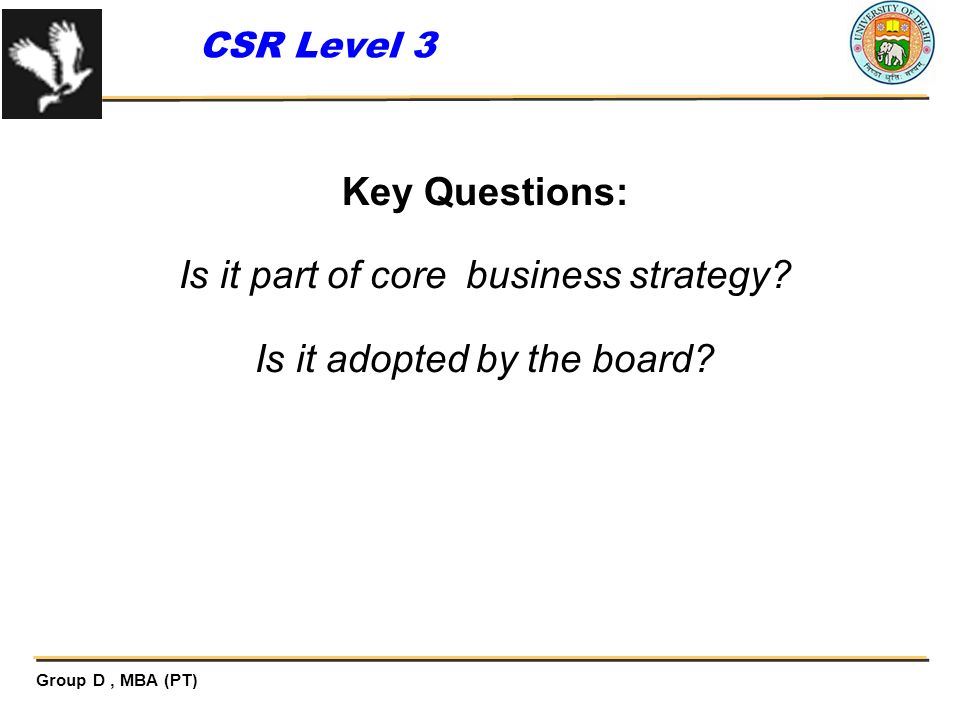 Is it part of core business strategy Is it adopted by the board