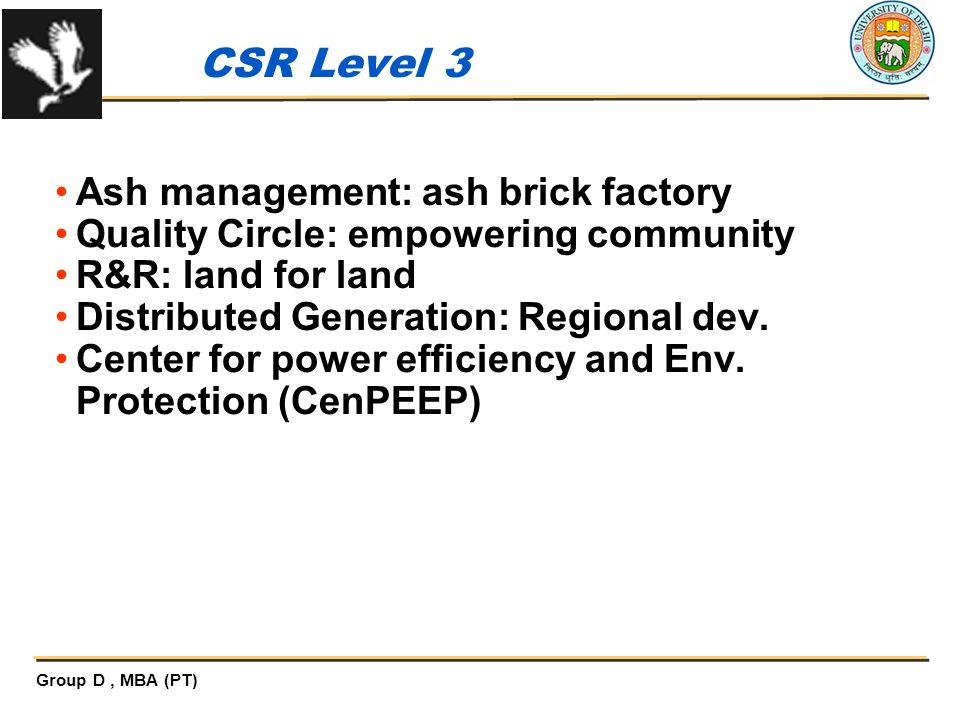 CSR Level 3 Ash management: ash brick factory