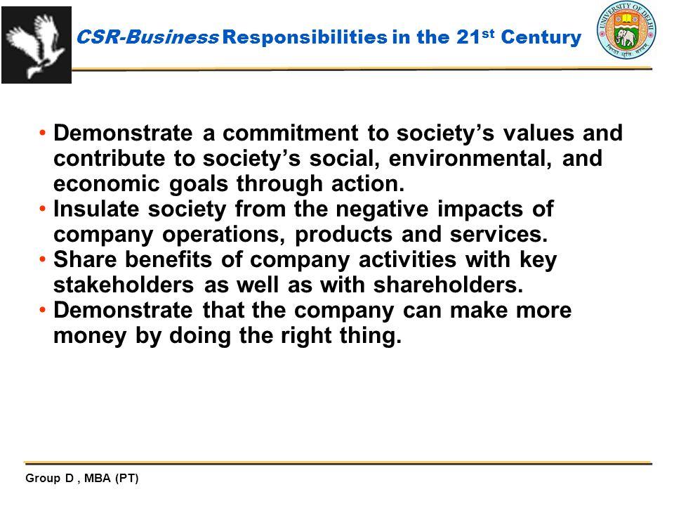 CSR-Business Responsibilities in the 21st Century