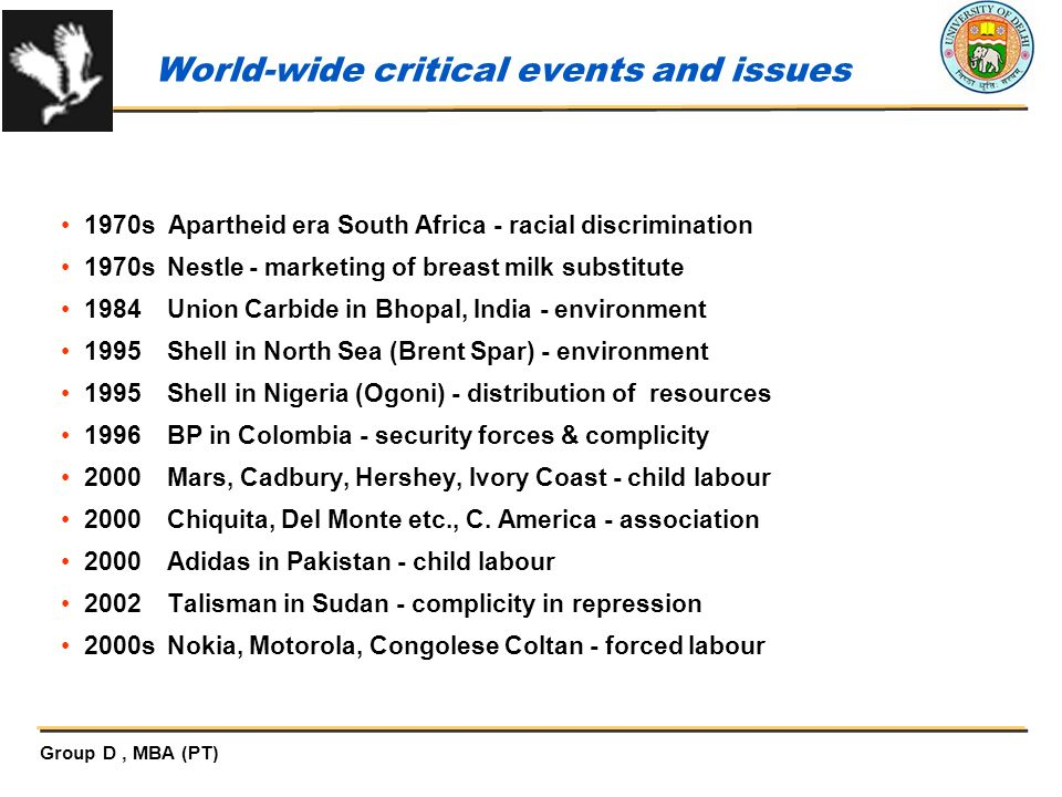 World-wide critical events and issues