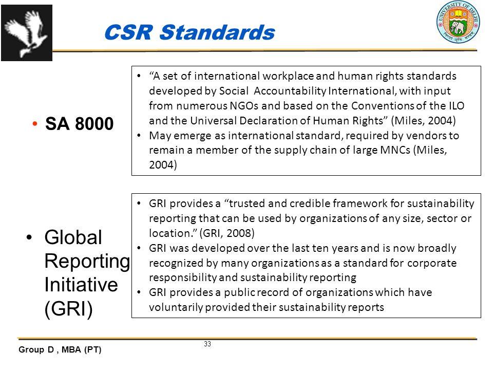 CSR Standards Global Reporting Initiative (GRI) SA 8000