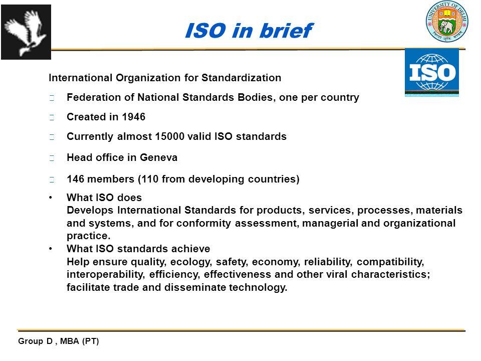 ISO in brief International Organization for Standardization