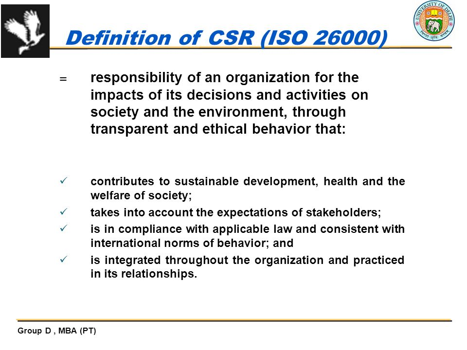Definition of CSR (ISO 26000)