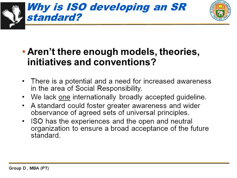 Why is ISO developing an SR standard