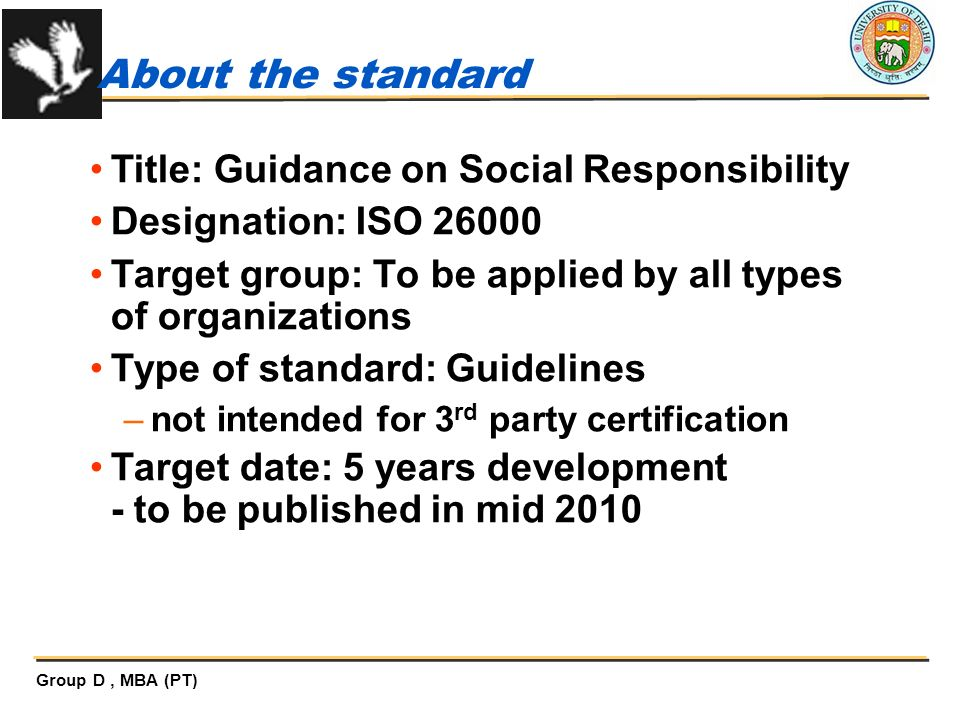 About the standard Title: Guidance on Social Responsibility