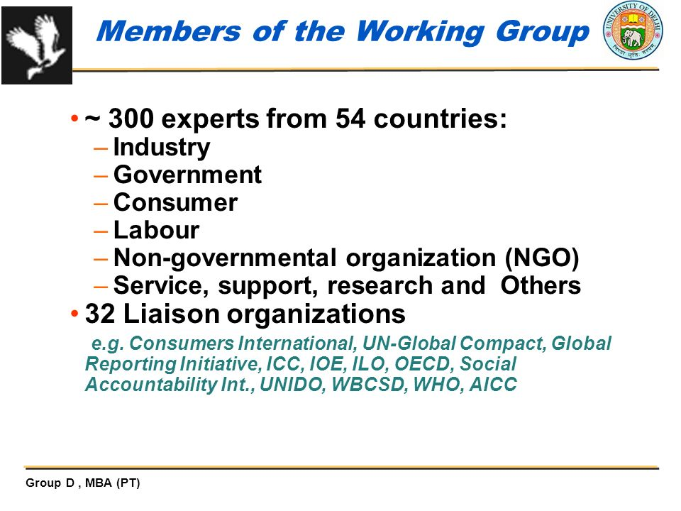 Members of the Working Group