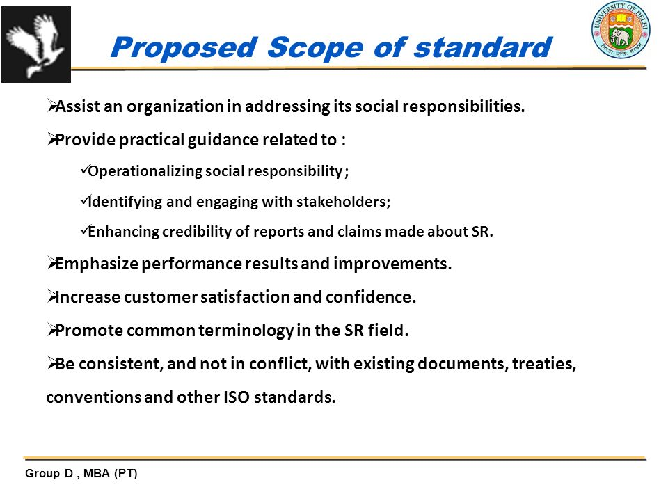 Proposed Scope of standard