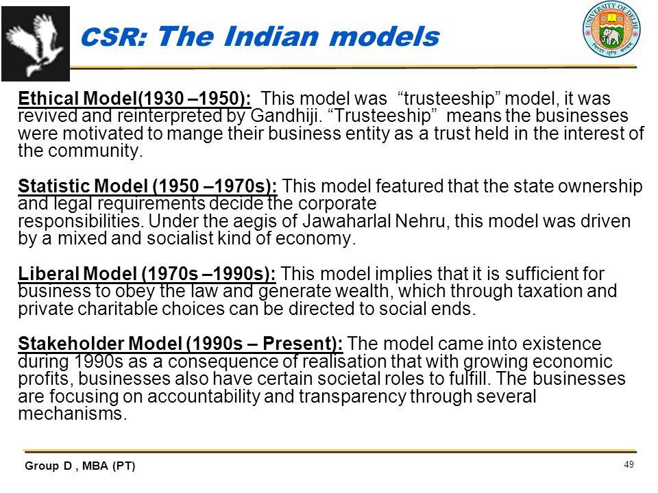 CSR: The Indian models