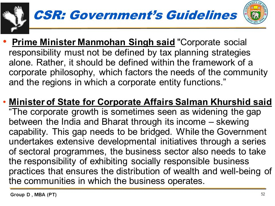 CSR: Government's Guidelines
