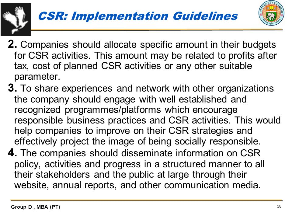 CSR: Implementation Guidelines