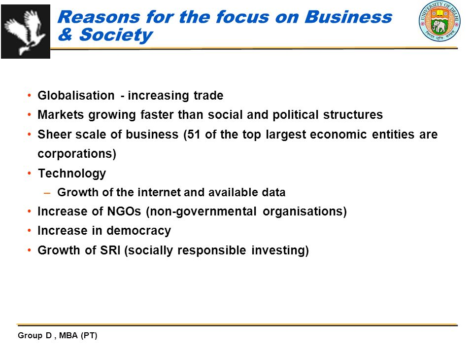 Reasons for the focus on Business & Society