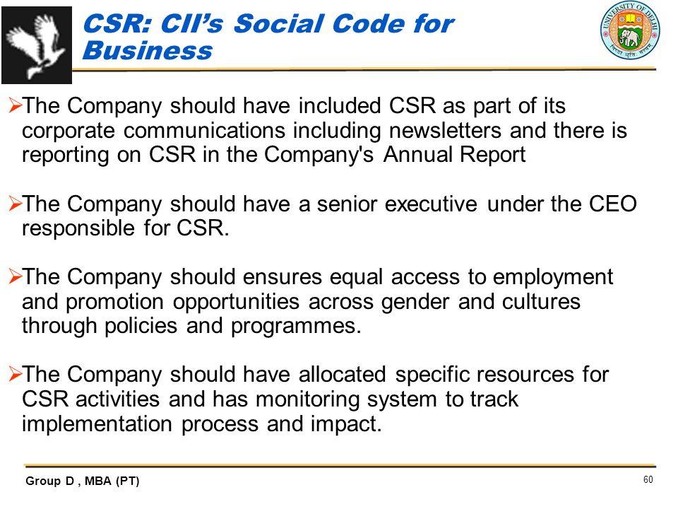 CSR: CII's Social Code for Business