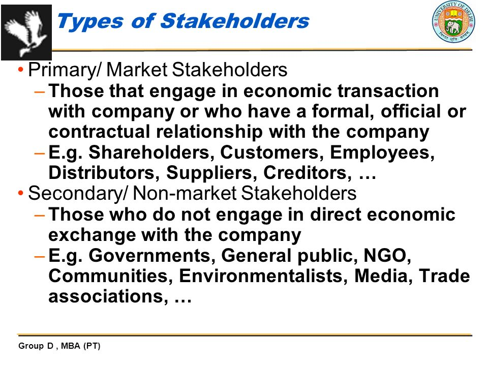Types of Stakeholders Primary/ Market Stakeholders