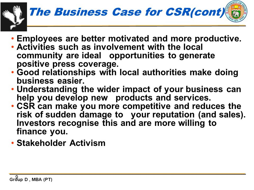 The Business Case for CSR(cont)