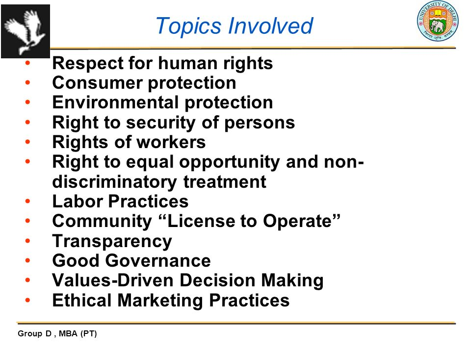 Topics Involved Respect for human rights Consumer protection