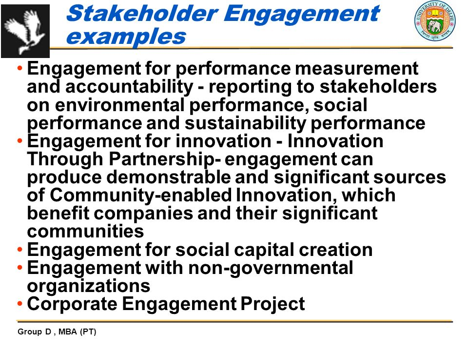 Stakeholder Engagement examples