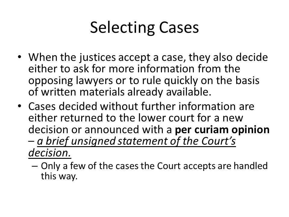 Selecting Cases