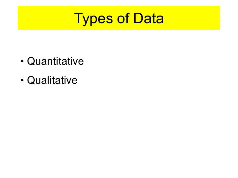 Types of Data Quantitative Qualitative
