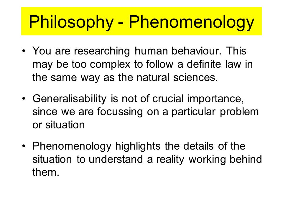 Philosophy - Phenomenology