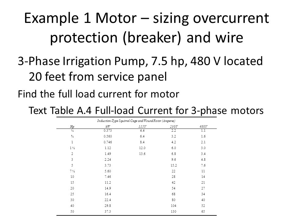 Asabe pe review session circuits controls and sensors ppt download example 1 motor sizing overcurrent protection breaker and wire greentooth Images
