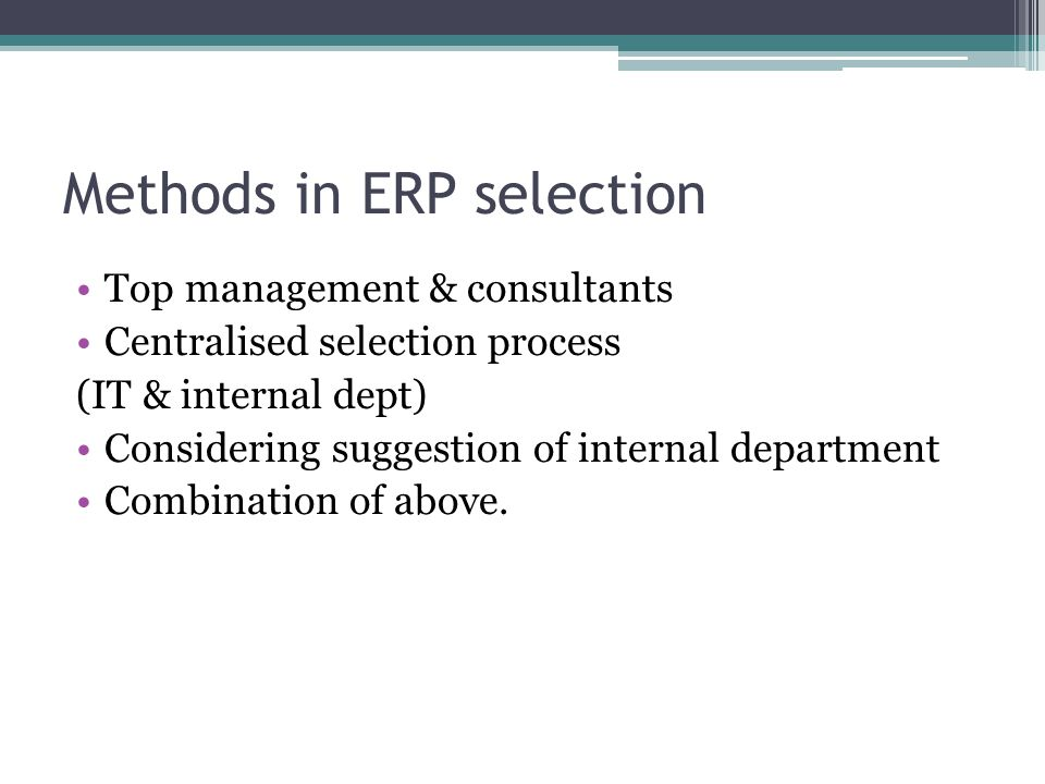 Erp selection methodology