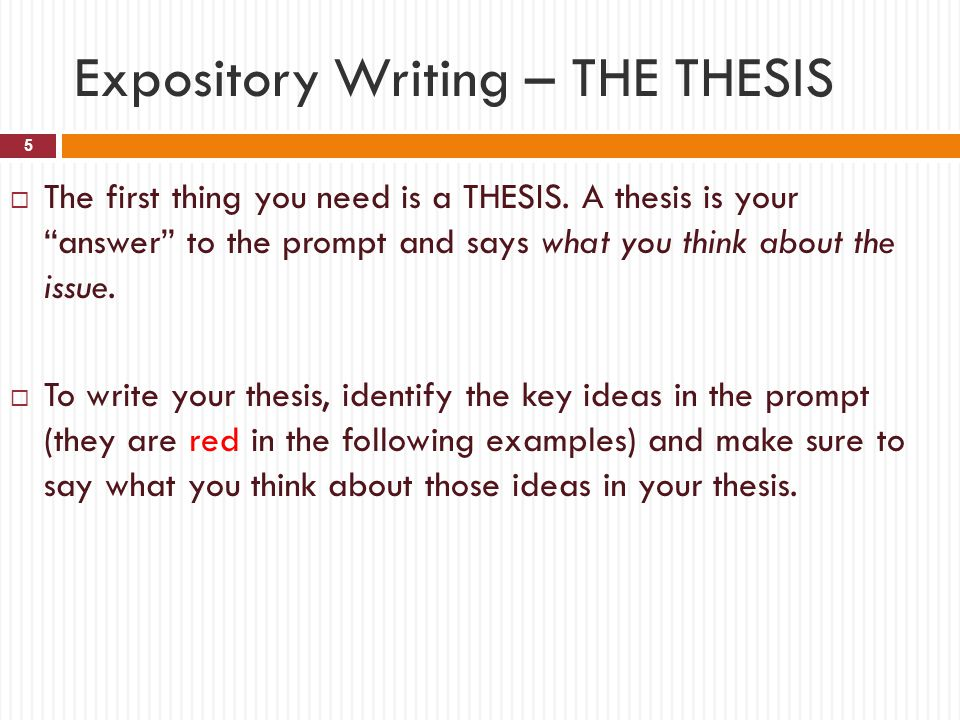 A thesis statement of an expository essay