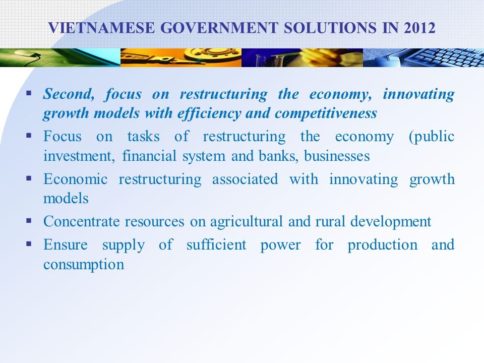 VIETNAMESE GOVERNMENT SOLUTIONS IN 2012