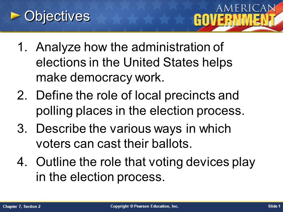 Objectives Analyze how the administration of elections in the United States helps make democracy work.