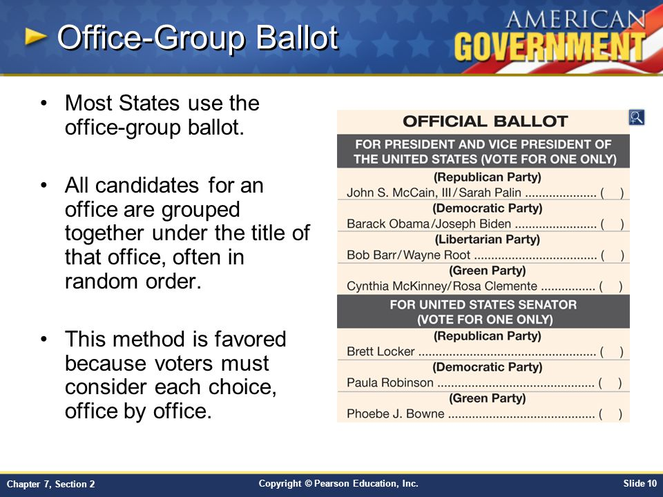 Office-Group Ballot Most States use the office-group ballot.