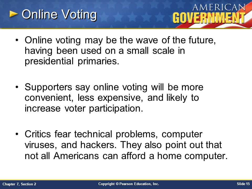Online Voting Online voting may be the wave of the future, having been used on a small scale in presidential primaries.
