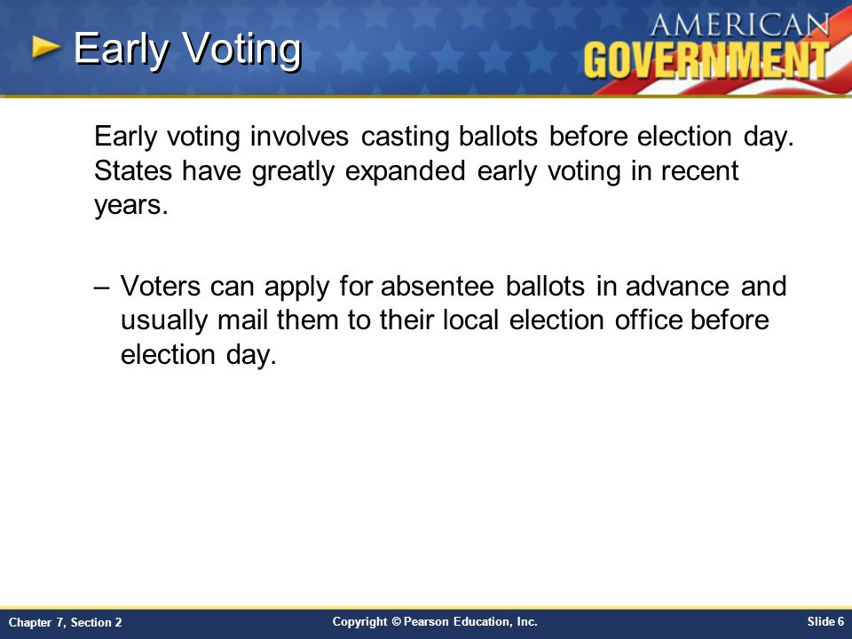 Early Voting Early voting involves casting ballots before election day. States have greatly expanded early voting in recent years.