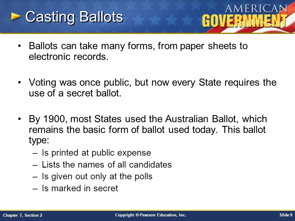 Casting Ballots Ballots can take many forms, from paper sheets to electronic records.
