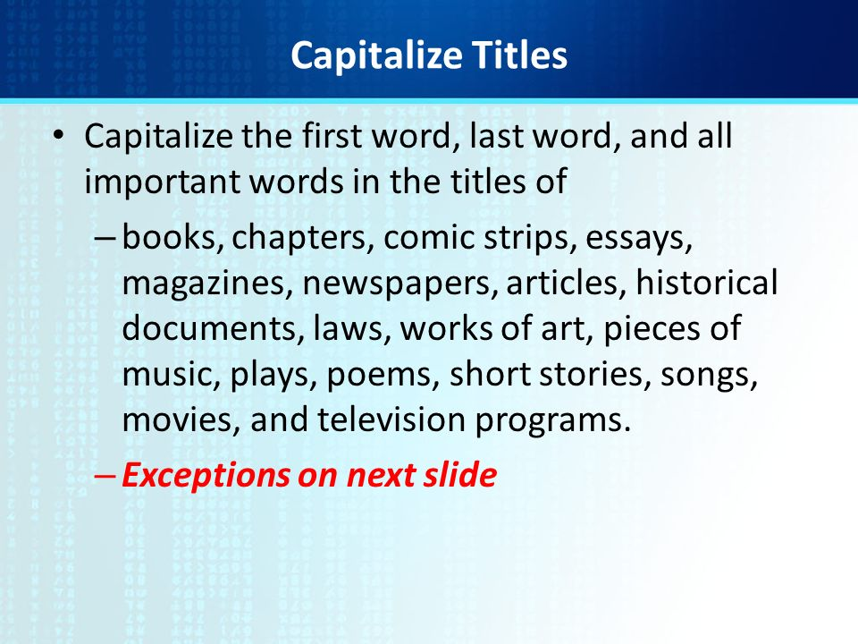 objective demonstrate correct use of capitalization ppt  capitalize titles capitalize the first word last word and all important words in the