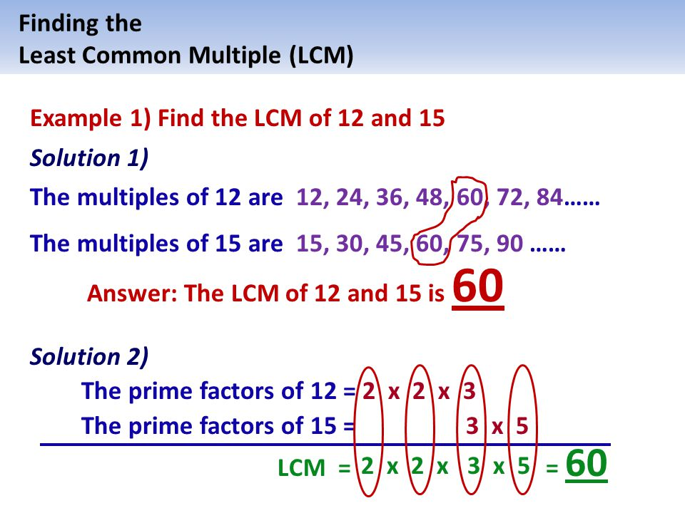 prime factorization to find lcm of 18 and 24 relationship