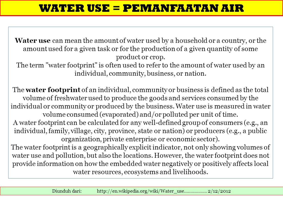 WATER USE = PEMANFAATAN AIR