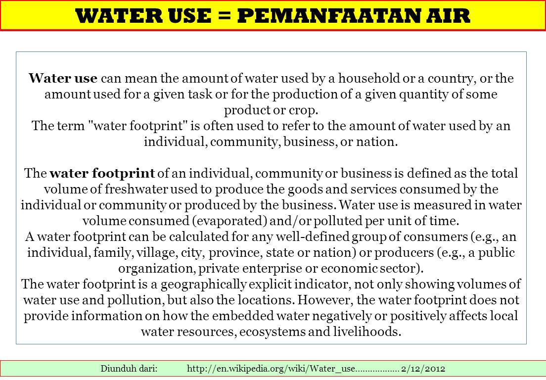 WATER USE = PEMANFAATAN AIR