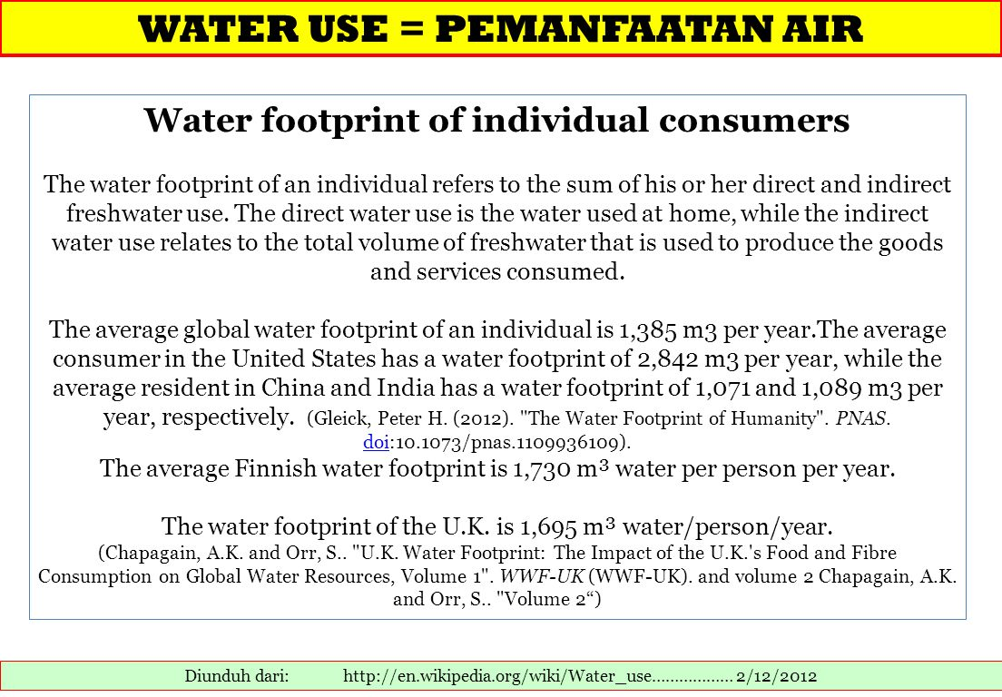 Water footprint of individual consumers