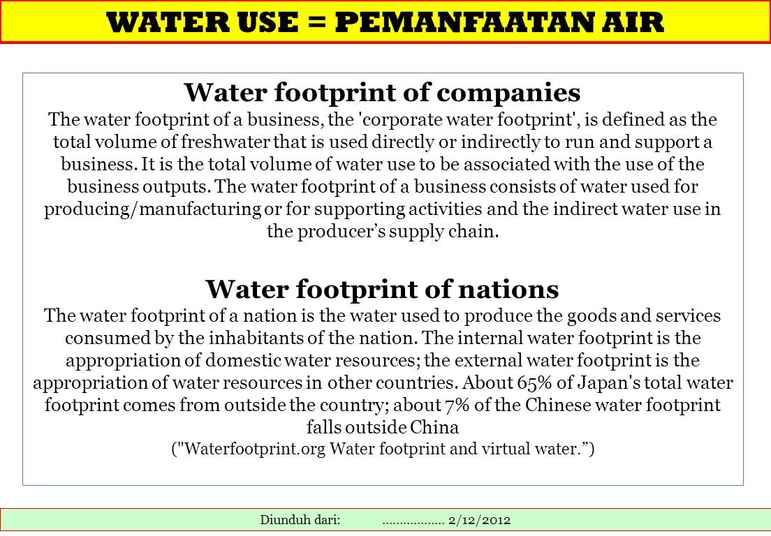 Water footprint of companies Water footprint of nations