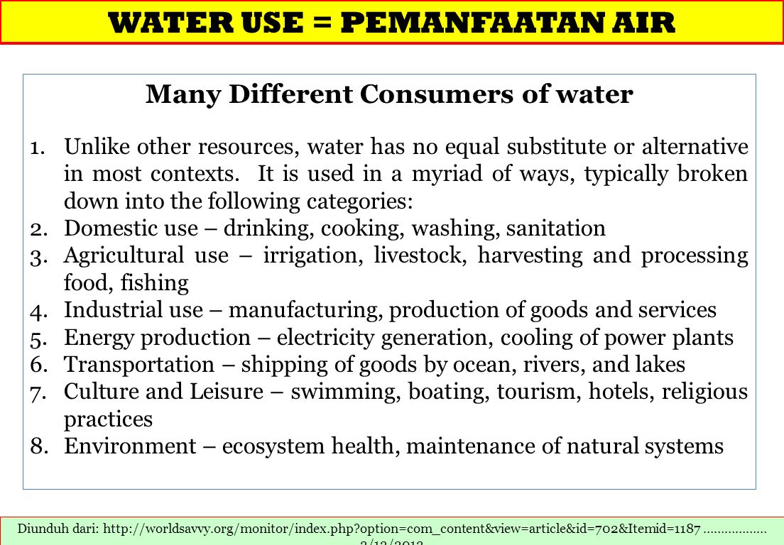 Many Different Consumers of water