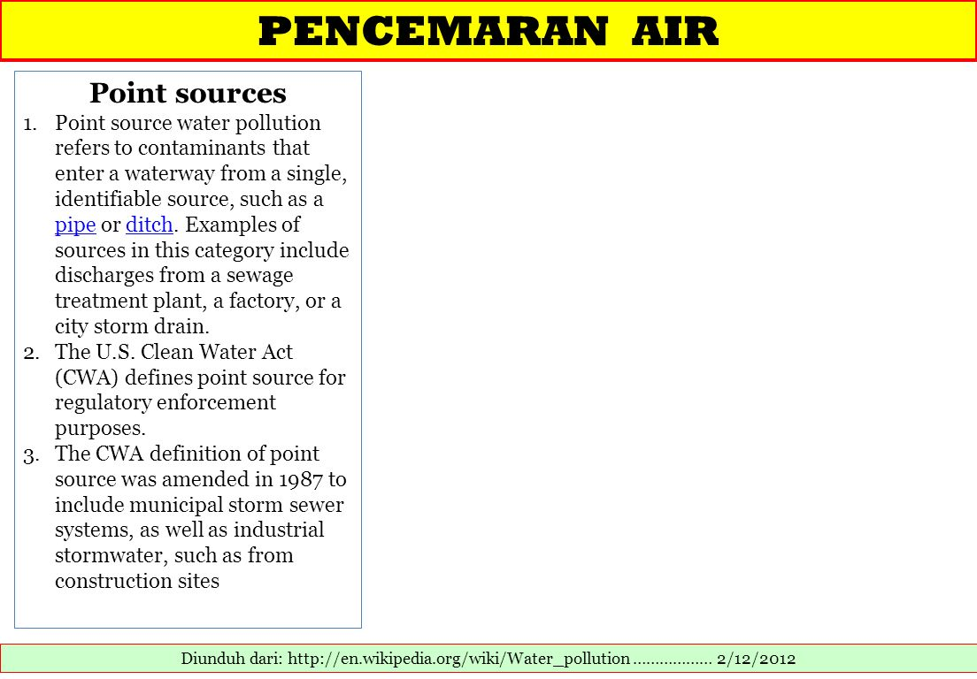 PENCEMARAN AIR Point sources