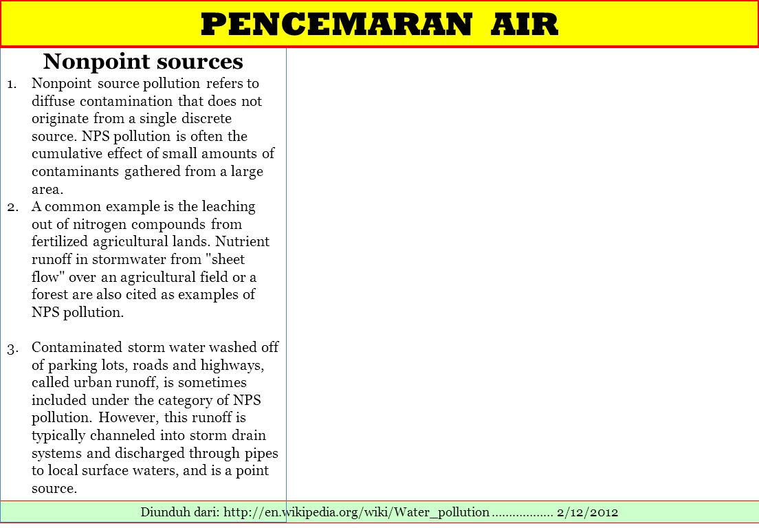 PENCEMARAN AIR Nonpoint sources